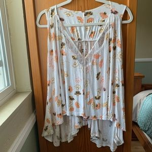 Free People white floral racer back tank tunic